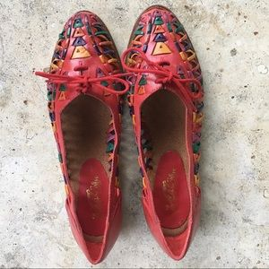 Vintage leather huaraches flats red sz 6.5